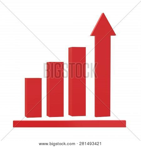 3d Growth Icon On Black Background. Flat Style. Graph Chart Icon For Your Web Site Design, Logo, App
