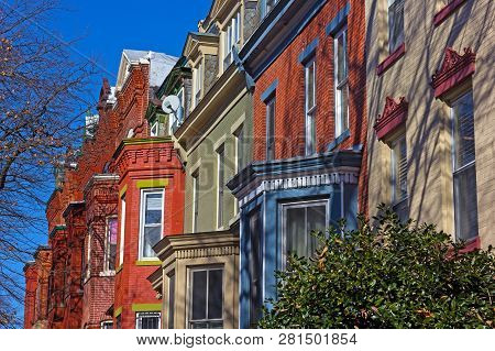 Historic Residential Townhouses In Washington Dc Suburb On A Bright Winter Day. Row Houses In Close