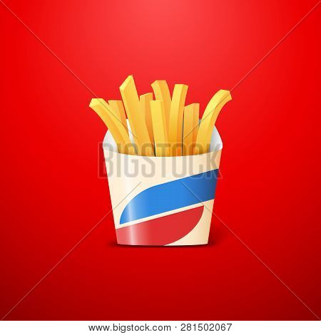 French Fries Or Crisps Made Of Fried Potato In Carton Box On Red Background