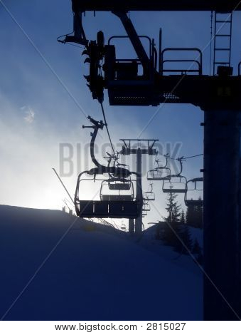 Chair Lift Silhouette, Vertical
