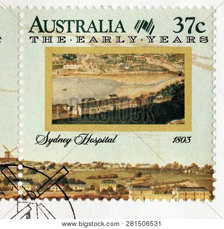 Luga, Russia - January 24, 2019:  A Stamp Printed By Australia Shows Beautiful View Of Sydney Hospit