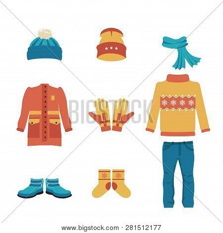 Set Of Warm Winter Clothes Design. Scarf, Winter Hat, Winter Coat, Jacket, Socks, Hat And Glove, Coa