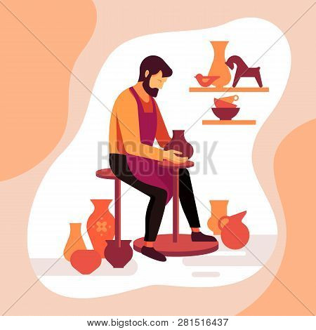 Master potter makes a clay vase. Vector illustration of the work of a pottery artisan. Pottery workshop poster. A happy potter making a ceramic pot on the pottery wheel in the workshop. poster