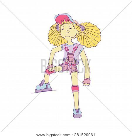 Young Girl With Yellow Hair In Baseball Cap And Overalls, Vector Cartoon Hand Draw Illustration. Tee