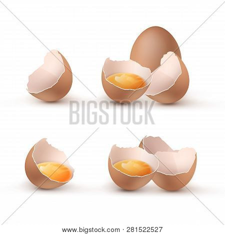 Vector illustration of cracked eggs with yolks, set eggshells cracked and broken in halves isolated on background poster