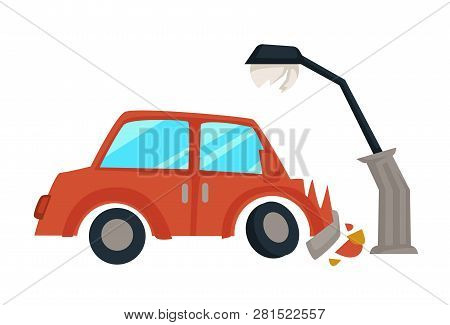 Car Accident Vehicle Hit Streetlight Broken Hood