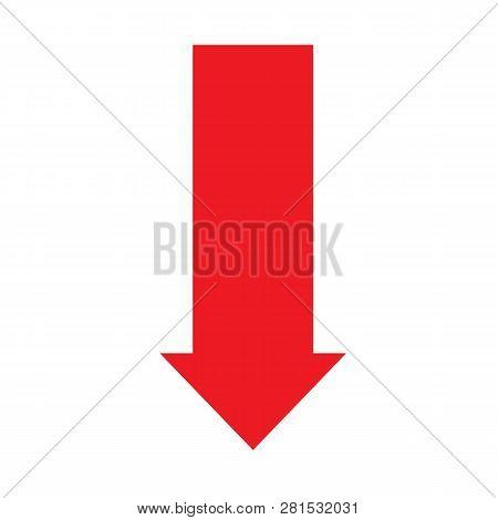 Arrow Down Icon On White Background. Flat Style. Arrow Down Icon For Your Web Site Design, Logo, App