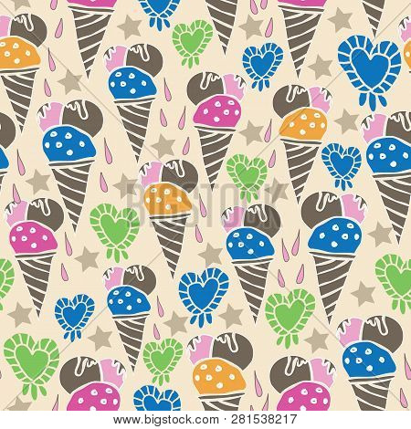 Ice Cream Fun-sweet Dreams Seamless Repeat Pattern Illustration . Pattern Background In Pink, Blue,