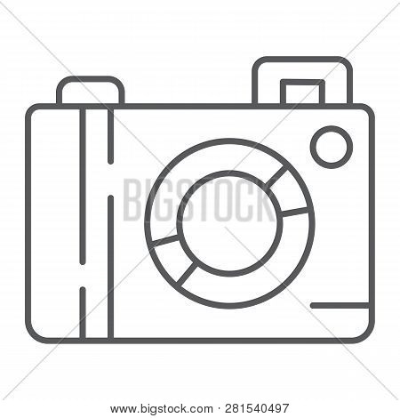 Camera Thin Line Icon, Lens And Photo, Photocamera Sign, Vector Graphics, A Linear Pattern On A Whit