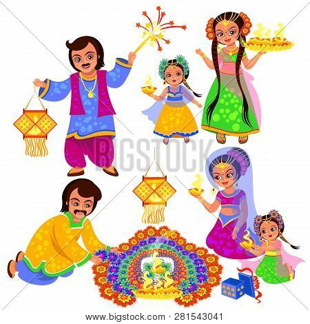 Diwali Indian Holiday Clebration With A Families
