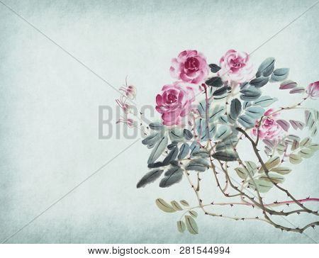 Chinese traditional painting of rose flower on old paper background