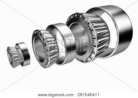 3d Rendering. Automotive Bearings Auto Spare Parts. Tapered Roller Bearing Isolated On A White Backg
