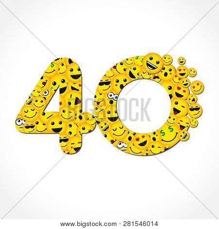 40 Th Years Old Congrats. Isolated Yellow Letter O Logotype. Abstract Web Graphic Symbol Of 40 %. Ve