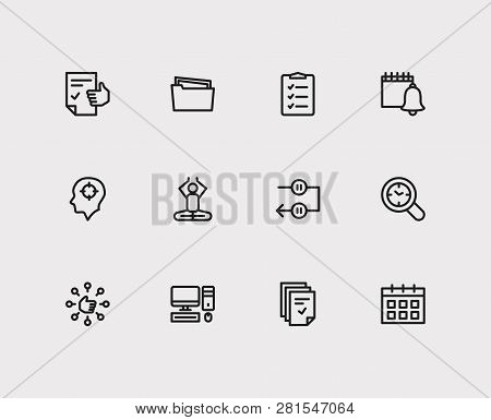 Work Icons Set. Mediate And Work Icons With Capability, Tasks And Group Tasks. Set Of Person For Web