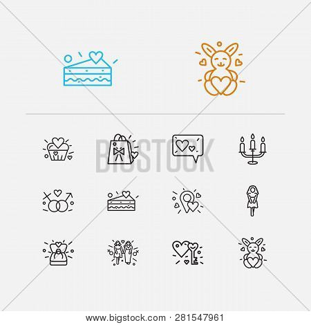 Love Icons Set. Girlfriend And Love Icons With Soft Toy, Piece Of Cake And Lovely Cupcake. Set Of Ba
