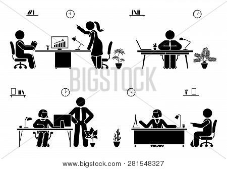 Office Busy Working Stick Figure Man And Woman Vector Icon Set. Teamwork, Solution, Communication, S