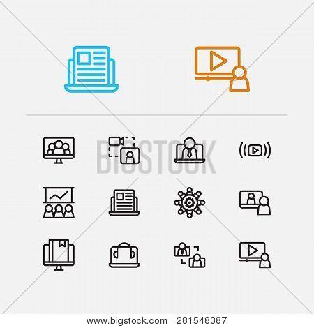 Online Education Icons Set. Education E-learning And Online Education Icons With Stream Vlog, Video