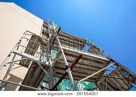 Facade Restoration, Under Construction - Scaffolding On Historic Building