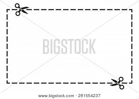 Cut Out Coupon Rectangle Shape With Scissors Icon. Vector Illustration.