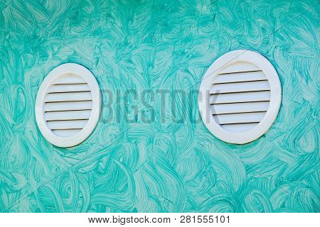 Air Ventilation Grid . Round Air Vent Cover. Rust And Dirty Old Round Ventilation Hole Frame With Ho
