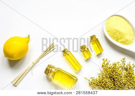 Spa With Oil And Salt On White Background Top View Mockup