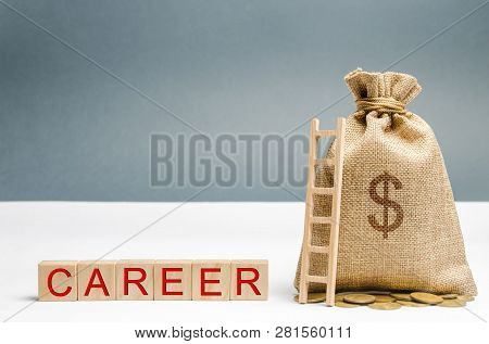 Wooden Blocks With The Word Career, Money Bag And Ladder. Self-development And Leadership Skills. Ca