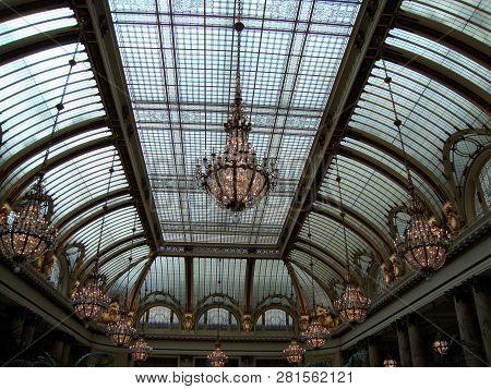 San Francisco - January 16, 2010:  The Garden Court Restaurant Crowned By Historic Landmark Glass Do