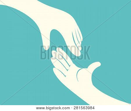 Close Up Of Hand Reaching Another Hand On Green Background Vector Illustration