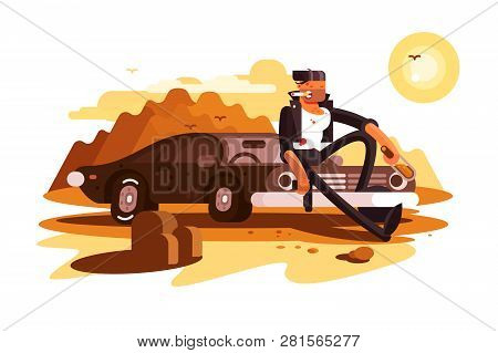 Cool Tough Guy Sitting On Car And
