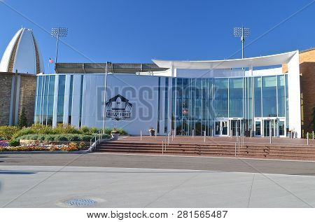 Canton, Ohio, October 8, 2013:  The Entrance To The National Football Hall Of Fame In Canton, Ohio W