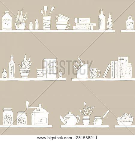 Shelves Graphic Kitchenware Color Seamless Pattern Sketch Background Illustration Vector
