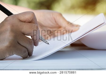 Document Report And Business Busy Concept: Businessman Manager Checking And Signing Documents Report