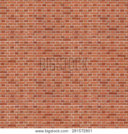 Seamless Brick Wall Texture. Construction Red Brick Background.