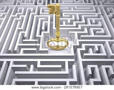 Maze And The Golden Key, 3d Illustration