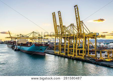 Barcelona, Spain - November 6, 2018: Maersk Line Cargo Ship With Spabunker Treinta (bunkering Tanker