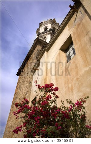 White Stone Church Red Bouganvillea Mexico