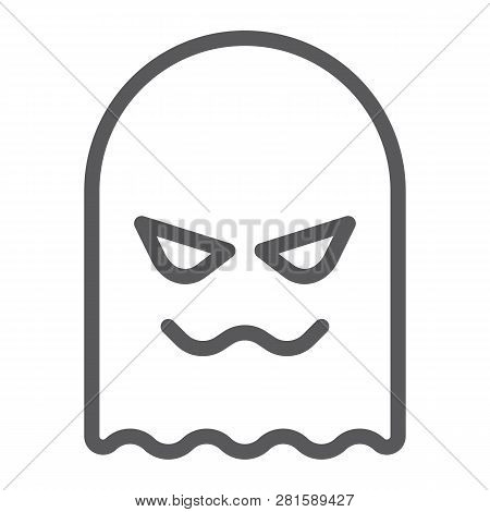 Ghost Line Icon, Horror And Character, Horror Sign, Vector Graphics, A Linear Pattern On A White Bac