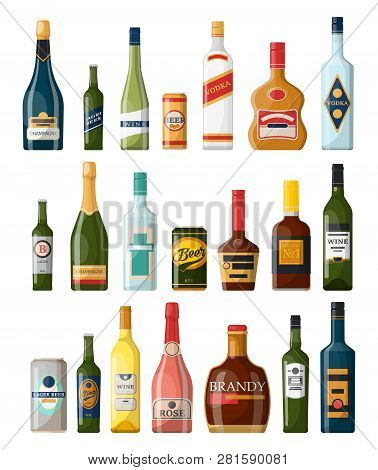 Set Of Isolated Alcohol Bottles, Booze Or Beverage, Drinks In Glassware Can. Lager Beer And Vodka, C