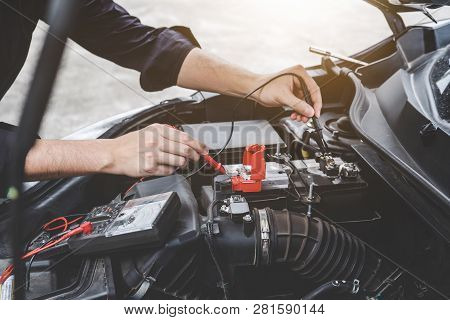 Services Car Engine Machine Concept, Automobile Mechanic Repairman Hands Checking A Car Engine Autom