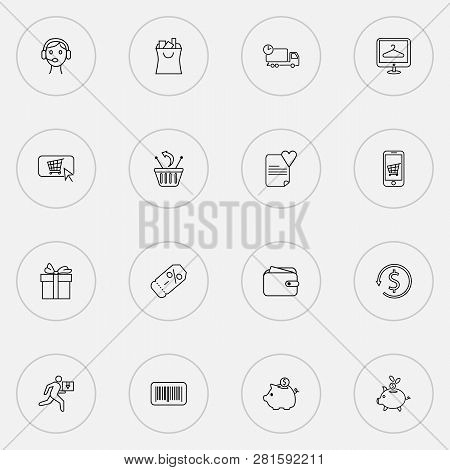 E-commerce Icons Line Style Set With Wish List, Wallet, Piggy Bank And Other Online Shopping Element