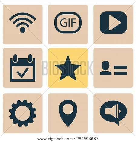 Media Icons Set With Setting, Media, Animation And Other Star Elements. Isolated  Illustration Media