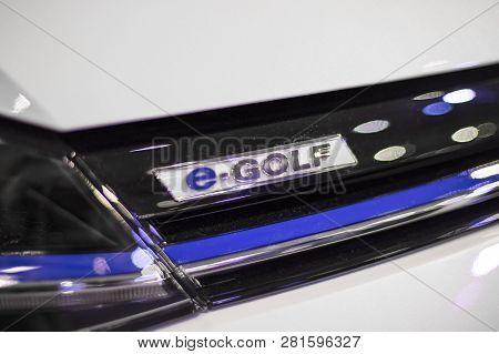 Belgrade, Serbia - March 28, 2017: Detail Of Volkswagen E-golf  Car In Belgrade, Serbia. It Is An Hy