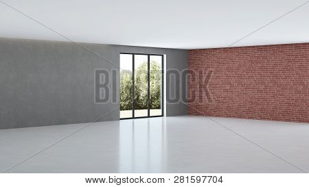Modern House Interior. Interior Design In The Style Of Loft. 3d Rendering.