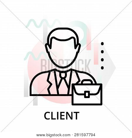 Modern Editable Line Vector Illustration, Client Icon On Abstract Background, For Graphic, For Graph