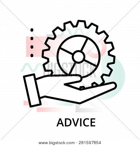 Modern Editable Line Vector Illustration, Advice Icon On Abstract Background, For Graphic And Web De