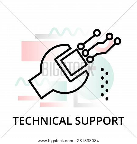 Modern Editable Line Vector Illustration, Technical Support Icon On Abstract Background, For Graphic