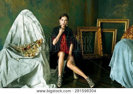 Beauty Rich Brunette Woman With A Lot Of Jewellery, Hispanic Lady In Luxury Rich Interior With Gold