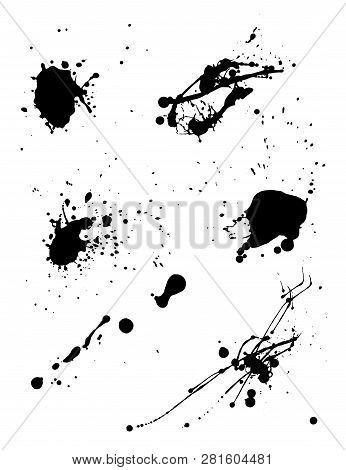 Various Spray Paint Graffiti Decorative Splatters. Vector Illustration.