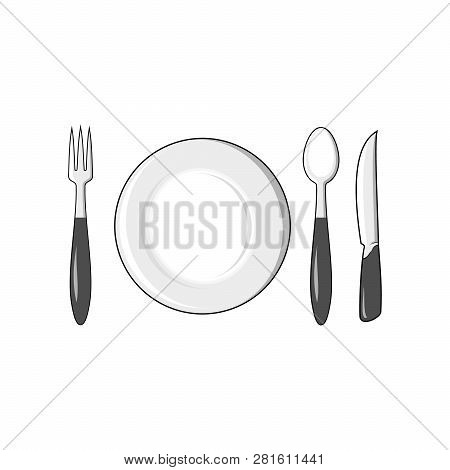 Fork Spoon Knife Plate Icon, Fork Spoon Plate Icon Eps10, Fork Spoon Plate Icon Vector, Fork Spoon P