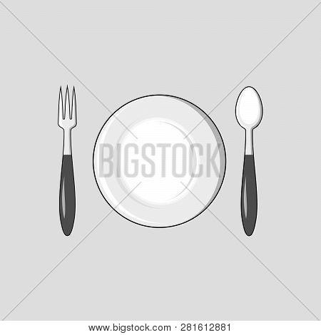 Fork Spoon Plate Icon, Fork Spoon Plate Icon Eps10, Fork Spoon Plate Icon Vector, Fork Spoon Plate I